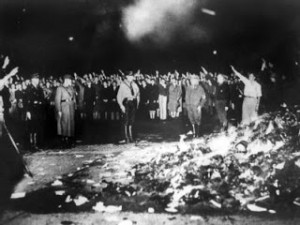 Nazis burning books in Germany prior to the outbreak of WWII
